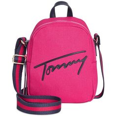 Tommy Hilfiger Tommy Script Mini Crossbody Backpack (5.105 RUB) ❤ liked on Polyvore featuring bags, backpacks, bright rose, backpack crossbody, pink backpack, miniature backpack, mini rucksack and tommy hilfiger backpack