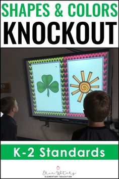 Pre-Kindergarten, Kindergarten, first, and second graders will love this Colors & Shapes KNOCKOUT {2D, 3D, & Colors} download. This pack includes four exciting knockout games: 2D Shapes, 3D Shapes, Color Words, and Identifying colors of objects. This quick-paced game also builds character by emphasizing teamwork and good sportsmanship for preschoolers, kinders, 1st grade, and 2nd grade students. Grab a free sample to make sure that this will be the perfect fit for your classroom review. #Shapes Fun Math Activities, Math Games For Kids, First Grade Activities, Upper Elementary Resources, Elementary Math, Classroom Games, Classroom Ideas, Interactive Math Journals, Counting Money