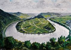 """""""Mosel bei Bremm"""" - Painting, Oil on Canvas(70 cm x 50 cm) by (W)ortschnipsel"""