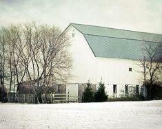 White Barn Photograph, winter barn print, rustic farmhouse decor, barn in winter photo, old country