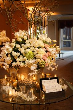 This beautiful welcome table is certainly an eye-catching statement. | Luxe Beverly Hills Wedding