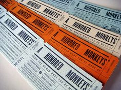 A Hundred Monkey Business Cards on French, Modtone, Aqua;  Durotone, Butcher Orange;  Durotone, Newsprint Aged; Durotone, Butcher Extra Blue