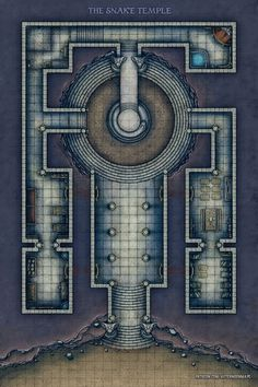 [ART][OC] Why did it have to be snakes? (The Snake Temple Battle Map - Fantasy Map, Fantasy Places, Dnd World Map, Rpg Map, Building Map, Grid, Dungeons And Dragons Homebrew, Adventure Map, Dungeon Maps