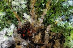 An abstract image, showing cross patches representing a budding plant. It is a mixture of different colors. This is a photograph converted into a painting.
