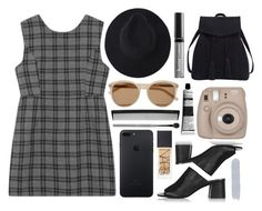 """""""Plaid dress"""" by rheeee ❤ liked on Polyvore featuring Yves Saint Laurent, Topshop, Fujifilm, NARS Cosmetics, Violeta by Mango, T3, esum and Butter London"""