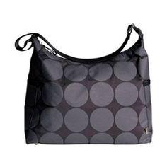 OiOi Diaper Bag Hobo Charcoal Dot with Lime Lining O6059