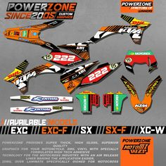CustomizableTeam Graphics  Backgrounds Decals 3M Stickers Kits For KTM SX SXF EXC XCW  125 250 450 530 2003 -2017 Free Shipping