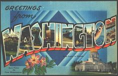 Washington 1940 Letter Greetings from Washington State Vintage Postcard