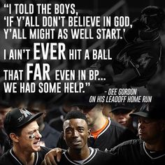 Dee Gordon s words when asked about the lead off HomeRun in yesterday s game  after Jose Fernandez  passing. Bless him and my team! Go Marlins! 672b3059c