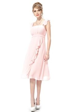 Frill Straps A-Line Chiffon Dress With Waterfall Detail