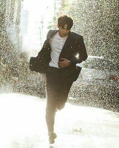 Ji Chang Wook running in rain