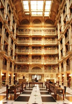 Over 300,000 books are housed at the Peabody Library in Baltimore.