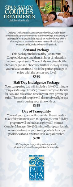 Couples packages at Pala Spa.