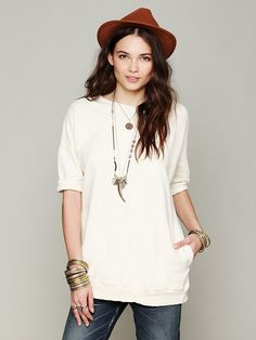 Free People Rolled Sleeved Pocket Pullover, $88.00
