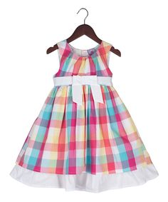 Look at this Pink & Blue Gingham Ruffle-Hem Dress - Infant, Toddler & Girls on #zulily today!