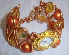 Burnt Orange Steampunk Copper Watch Bracelet Set. $75.00, via Etsy.