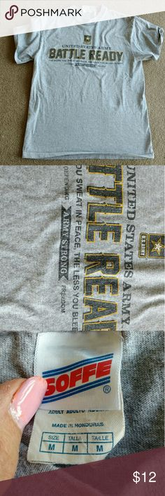 ❌Army tee shirt mens Army t says the more you sweat in peace the less you bleed in battle....Good used condition army proud Shirts Tees - Short Sleeve