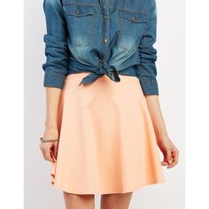 Charlotte Russe Ponte Knit Skater Skirt ($4.99) ❤ liked on Polyvore featuring skirts, coral, high waist skirt, high waisted flare skirt, charlotte russe, red flared skirt and flare skirts