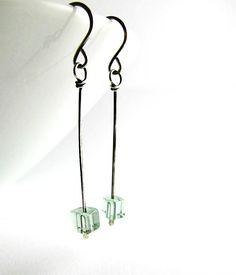 desert sage stick earrings sterling silver wire beth hemmila hint jewelry Brincos