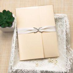 photo rhinestone satin ribbon pocket wedding invitations EWPI180 as low as $2.29  