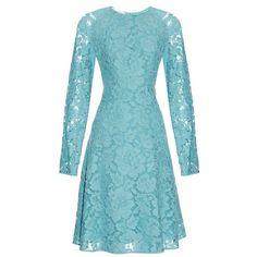 Oscar De La Renta Long-sleeved lace dress ($2,920) ❤ liked on Polyvore featuring dresses, light blue, long sleeve dress, long sleeve lace dress, blue dress, long-sleeve floral dresses and floral fit-and-flare dresses
