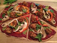 """Italian """"Sausage"""" Pizza PD-Ed Exclusive Recipe - I'm tempted in Chicago by the intoxicating smell of pizza on every street corner I pass.  I came up with an easy homemade pizza recipe to fit perfectly into a Protective Diet.  Free of all the saturated fat and loaded with the best toppings, including Chicago style """"sausage""""."""