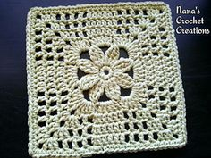 Nana's Summer Trellis Bloom Square - free 8 square pattern by Des Maunz / Nana's Crochet Creations. www.facebook.com/...