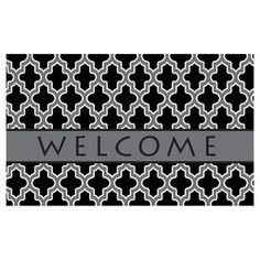 Picture of Black and Gray Quatrefoil Welcome Doormat 18 X 30-in