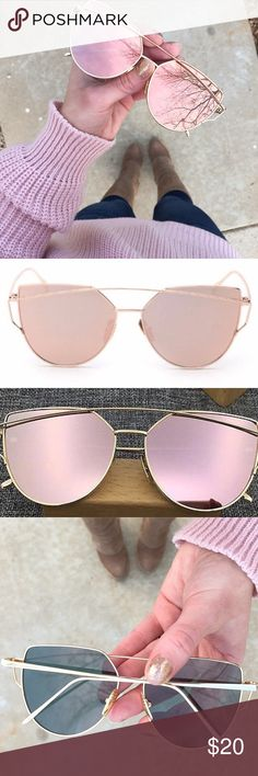 Rose Gold Mirrored Metallic Cat Eye Sunglasses Brand new, still sealed in original packaging (no tags attached) rose gold metallic mirrored sunglasses. Pink reflective mirror lenses with gold wire frame. So chic and perfect for spring! No case included but will ship in protective packaging. ❌No trades❌Price firm unless bundled. Accessories Sunglasses