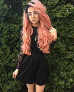peach hair color rose gold with ombre wavy Peach Hair Colors, Fall Hair Colors, Pink Hair, Blonde Hair, Hair Color 2018, Latest Hair Color, Hair 2018, Synthetic Lace Front Wigs, Synthetic Wigs