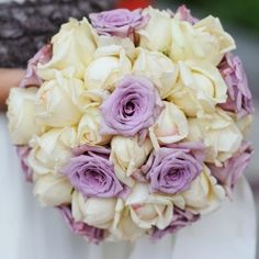 Heavenly Purple Bridal Bouquet - Buy Online in Hartford Flower Shop Purple Accents, Lavender Roses, Order Flowers, Cream Roses, Heavenly, Mother Nature, Outdoor Gardens, Wedding Flowers, Bouquet