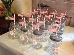 Mason jar glasses for elephant baby shower