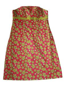 Women Lilly Pulitzer Pink Strapless Floral Ladybug Dune Buggy Dress Size 0