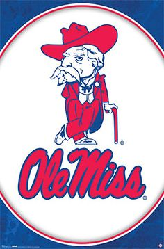 University of Mississippi OLE MISS REBELS Logo Poster - Colonel Reb Mascot - available at www.sportsposterwarehouse.com