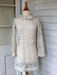 White Lace Shift Dress Sheer Mini Dress Vintage by ChimpVintage