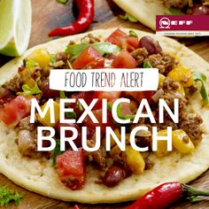 For a spicy twist to a standard egg brunch, try this Mexican dish with huevos rancheros (ranch eggs) - fried eggs on corn tortillas topped with a tomato chilli sauce.