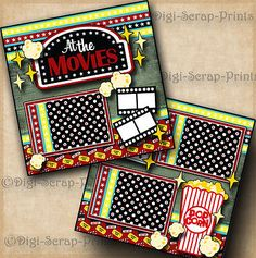 THE MOVIES ~ 2 premade scrapbook pages paper piecing LAYOUT family ~BY DIGISCRAP