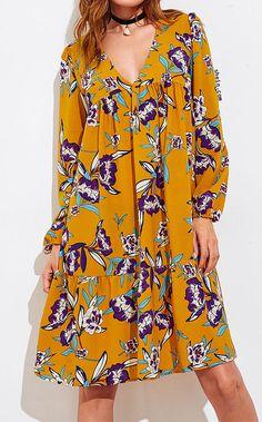 iPretty Women Autumn Spring Long Sleeve Floral Print Deep V Neck Dress Beach Elegant Ruffle Patchwork Hem Tunic Vestidos Simple Pakistani Dresses, Simple Dresses, Casual Dresses, Fashion Dresses, Beach Dresses, Summer Dresses, Dress Beach, Deep V Neck Dress, Chiffon Maxi Dress