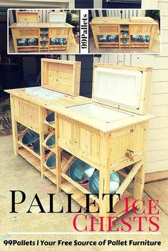Pallet Ice Chests with Bucket Rack | 99 Pallets