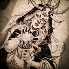 Some apocalyptic witchcraft. This would be something for my right upper arm tatt. Tattoo Sketches, Tattoo Drawings, Art Drawings, Neo Traditional Tattoo, Traditional Art, Geniale Tattoos, Desenho Tattoo, Ink Art, Beautiful Tattoos