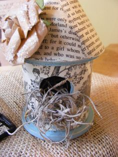 Shabby Chic Miniature Birdhouse Decoupaged with Jane Austen Book Pages.