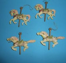 Victorian CAROUSEL HORSE LOT 4 Christmas ORNAMENTS EUC Pink Ivory
