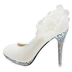 Getmorebeauty Women's White Lace Flower Twinkle Party Dress Shoes 5 B(M) US
