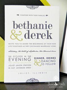 Bethanie & Derek Wedding Stationery and Invitation by BoldandPosh, $12.00