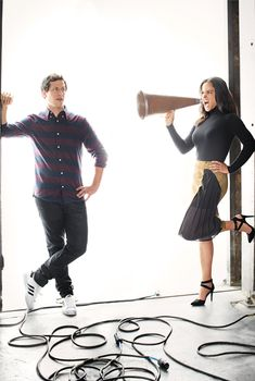 Brooklyn Nine-Nine stars Andy Samberg aka Jake Peralta and Melissa Fumero aka Amy Santiago get dressed up as their characters in the latest issue of Good. Brooklyn 99 Actors, Brooklyn 9 9, Brooklyn Nine Nine, Andy Samberg, Best Tv Shows, Favorite Tv Shows, Jake And Amy, Jake Peralta, Tv Couples