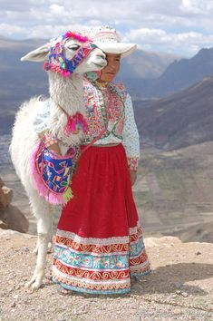 Little Cabanas girl near the Colca Canyon in traditional embroidered dress.