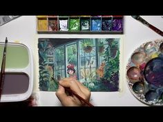 Studio Ghibli Kiki's Delivery Service gouache painting process - YouTube Kiki Delivery, Kiki's Delivery Service, Painting Process, Gouache Painting, Studio Ghibli, Scene, Embroidery, Creative, Youtube