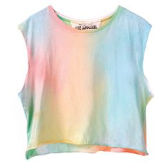 Acid Rainbow Crop Top ($40) ❤ liked on Polyvore featuring tops, shirts, crop tops, tank tops, cotton crop top, summer tops, see through tops, transparent shirt and cotton summer tops