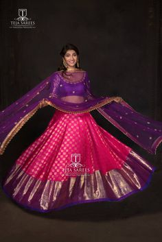 Sampradaya - Presenting you the combination of pink and purple Kanjeevaram half saree from our Sampradaya Collection. Banarasi Lehenga, Half Saree Lehenga, Saree Gown, Lehnga Dress, Lehenga Blouse, Bollywood Lehenga, Sharara, Half Saree Designs, Choli Designs