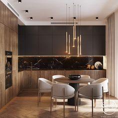 Luxury Kitchen Design, Kitchen Room Design, Home Decor Kitchen, Interior Design Kitchen, Kitchen Furniture, Home Kitchens, Small Modern Kitchens, Kitchen Cabinet Styles, Cuisines Design